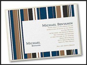 Handsome Stripes Layered Bar Mitzvah Invitation