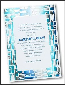 Hip Mosaic Blues Bar Mitzvah Invitation