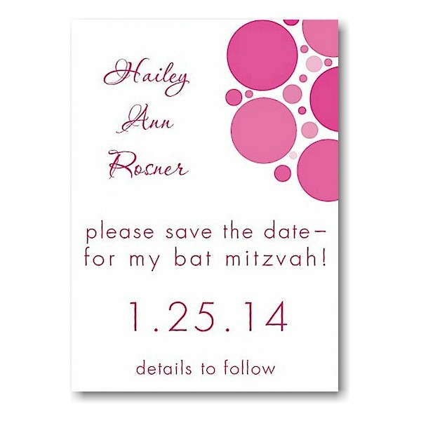 Mod Dots in Hot Pink Save the Date Card Sample