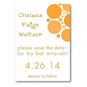 Mod Dots in Tangerine Save the Date Card Sample