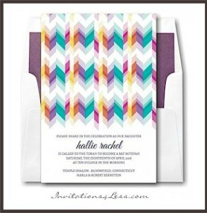 Sparkling Stripes Bat Mitzvah Invitation