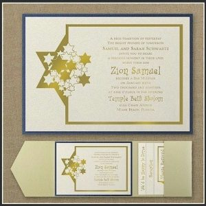 Stars of David Pocket Bar Mitzvah Invitation