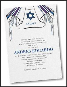 Tallit and Star Bar Mitzvah Invitation