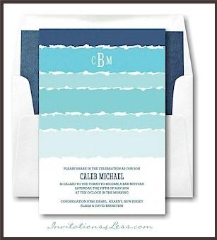 Tekhelet Waves Bar Mitzvah Invitation