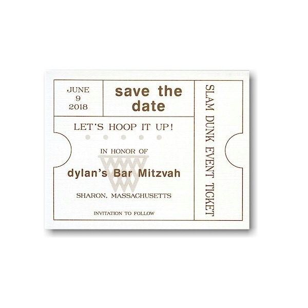 Ticket Style Save the Date Card Sample