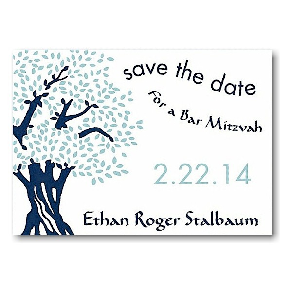 Tree of Life in Midnight and Sky Save the Date Card Sample