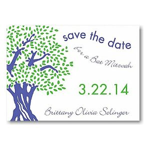 Tree of Life in Purple and Lime Save the Date Card Sample