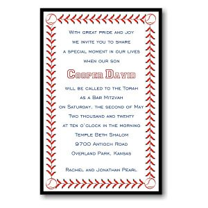 Baseball Layered in Black Bar Mitzvah Invitation
