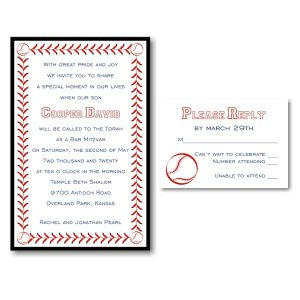 Baseball Layered Black Bar Mitzvah Invitation alt