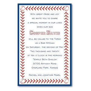 Baseball Layered in Blue Bar Mitzvah Invitation