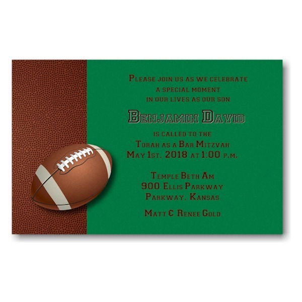 Football Bar Mitzvah Invitation Sample