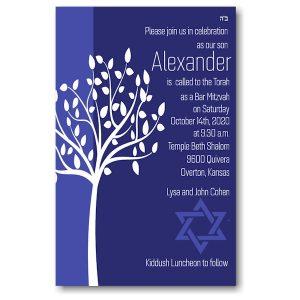 Tree of Life Blue Bar Mitzvah Invitation