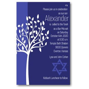 Tree of Life in Blue Bar Mitzvah Invitation Icon