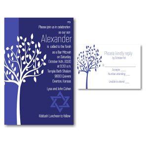 Tree of Life Blue Bar Mitzvah Invitation alt