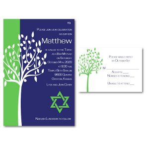 Tree of Life Green Bar Mitzvah Invitation alt