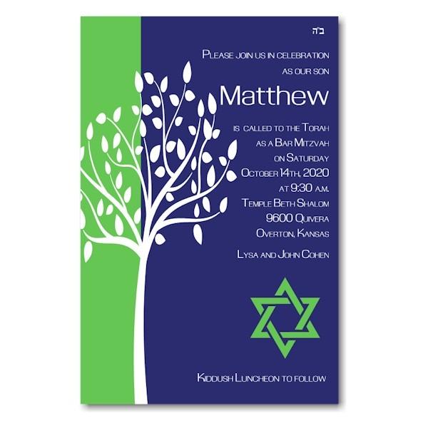 Tree of Life Green Bar Mitzvah Invitation