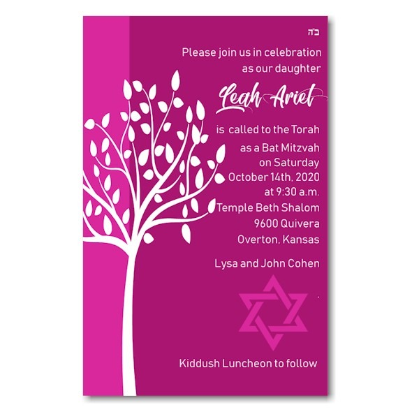 Tree of Life in Pink Bat Mitzvah Invitation Sample