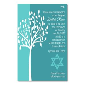 Tree of Life in Aqua Bat Mitzvah Invitation Icon