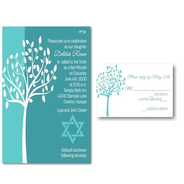 Tree of Life in Aqua Bat Mitzvah Invitation