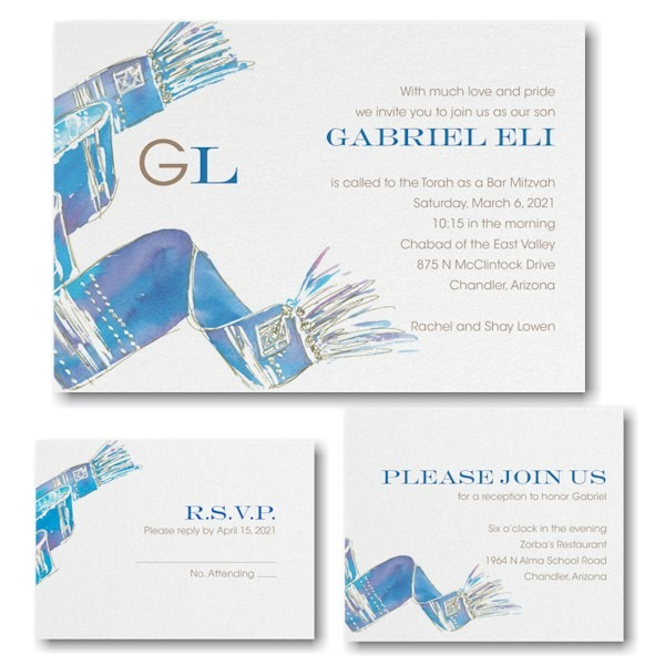 Blessed Tallit Blue Bar Mitzvah Invitation