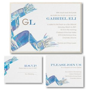 Blessed Tallit Blue Layered Bar Mitzvah Invitation