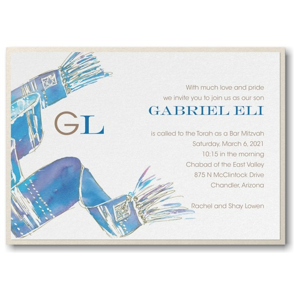 Blessed Tallit Blue Layered Bar Mitzvah Invitation Icon