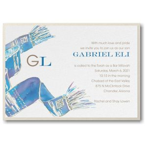 Blessed Tallit Blue Layered Bar Mitzvah Invitation alt