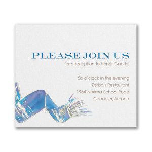 Blessed Tallit in Blue Reception Card