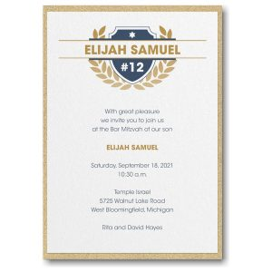 Celebration Crest Layered Bar Mitzvah Invitation Icon
