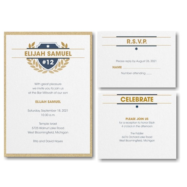 Celebration Crest Layered Bar Mitzvah Invitation