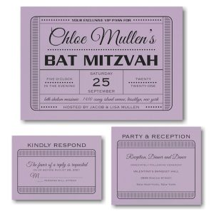 Exclusive VIP Pass Bat Mitzvah Invitation