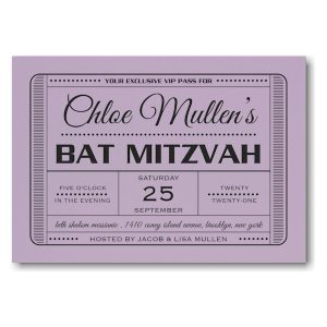 Exclusive VIP Pass Bat Mitzvah Invitation Sample