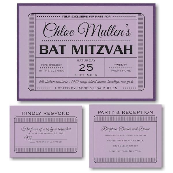 Exclusive VIP Pass Layered Bat Mitzvah Invitation