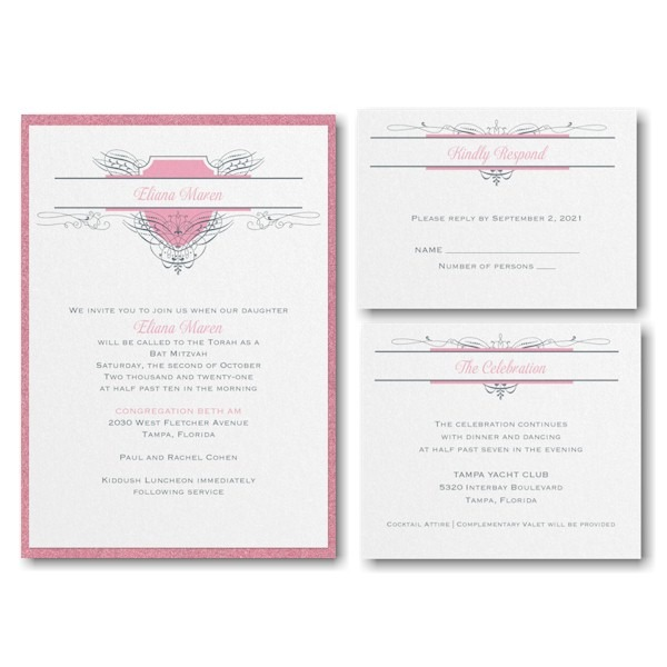 Fabulous Flourish Layered Bat Mitzvah Invitation
