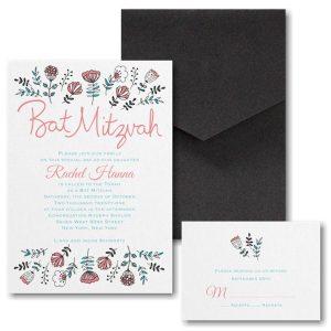 Fancy Floral Pocket Bat Mitzvah Invitation