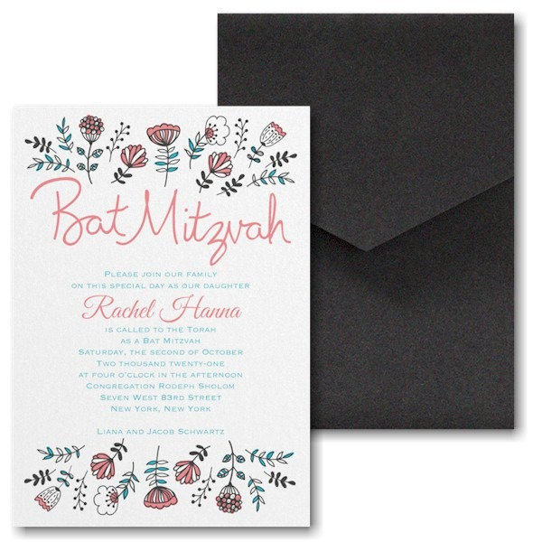 Fancy Floral Pocket Bat Mitzvah Invitation alt