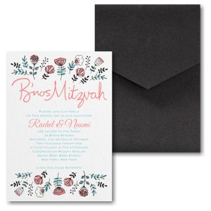 Fancy Floral Pocket Bnos Mitzvah Invitation Icon