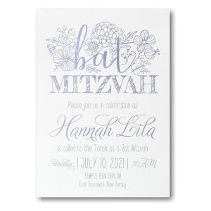 Floral Mitzvah Bat Mitzvah Invitation Icon