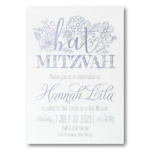 Floral Mitzvah Bat Mitzvah Invitation Icon