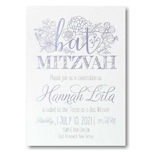 Floral Mitzvah Bat Mitzvah Invitation alt
