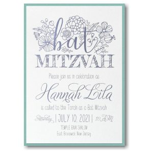 Floral Mitzvah Layered Bat Mitzvah Invitation Icon