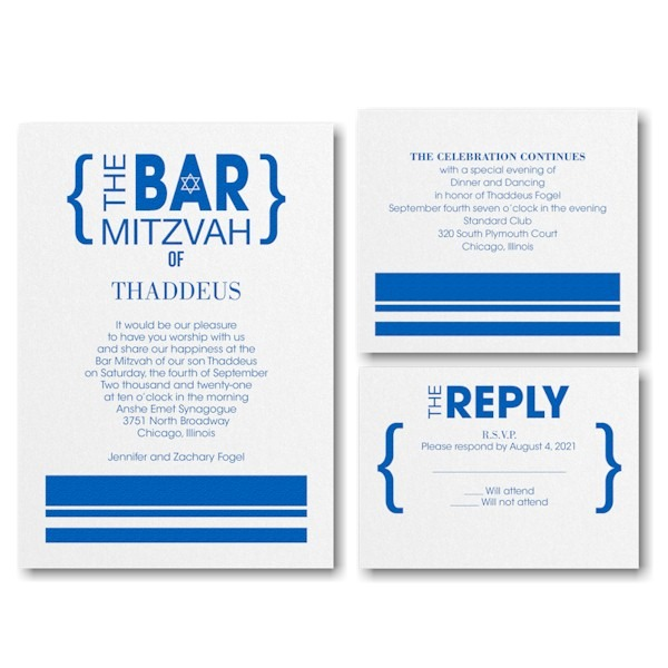Honorary Brackets Bar Mitzvah Invitation