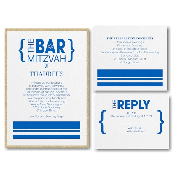Honorary Brackets Layered Bar Mitzvah Invitation