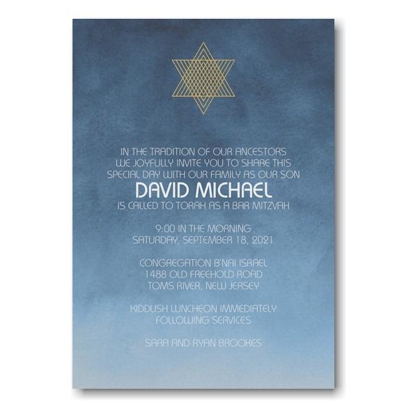 Ombre Wash Bar Mitzvah Invitation Sample