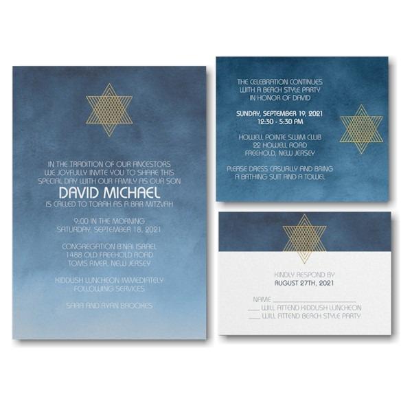 Ombre Wash Bar Mitzvah Invitation