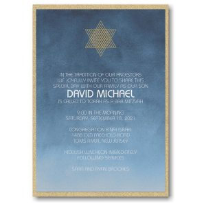 Ombre Wash Layered Bar Mitzvah Invitation Sample