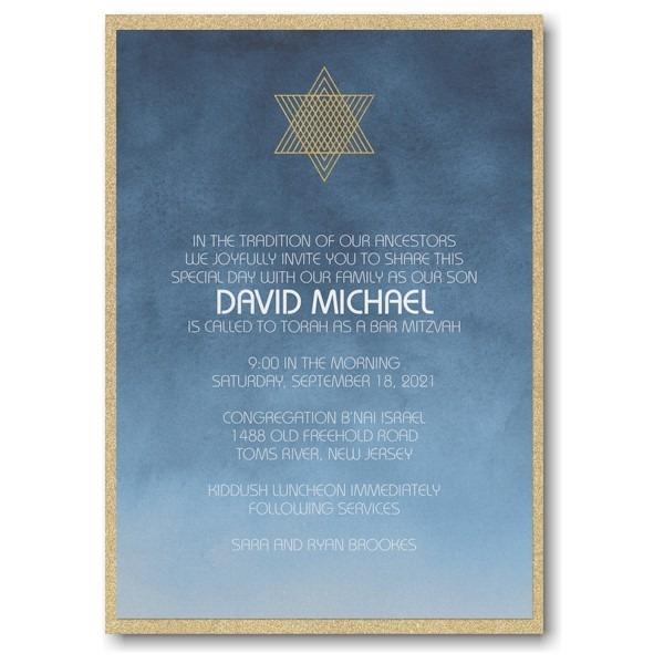 Ombre Wash Layered Bar Mitzvah Invitation Icon