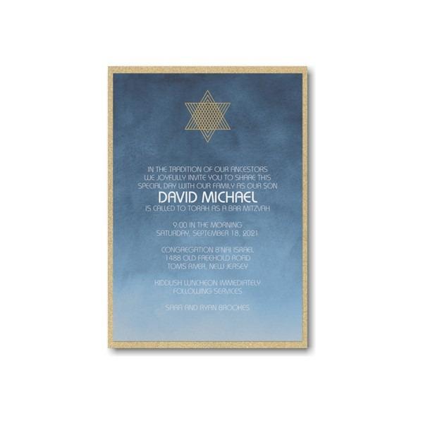 Ombre Wash Layered Bar Mitzvah Invitation alt