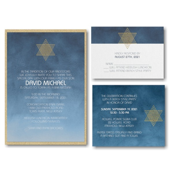 Ombre Wash Layered Bar Mitzvah Invitation