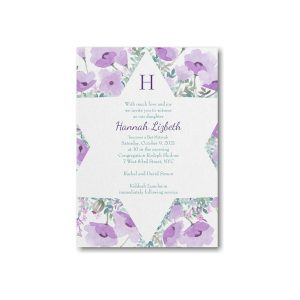 Peaceful Star Violet Bat Mitzvah Invitation alt